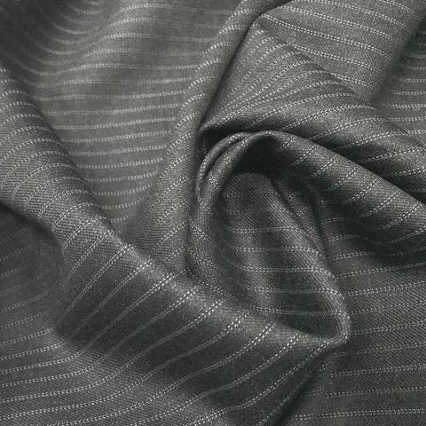 Ткань костюмно-плательная темно-серая в полоску 3236