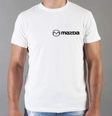 Футболка с принтом Мазда (Mazda) белая 002