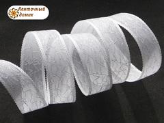 Лента органза с хаотичной люрексовой нитью белая 25 мм
