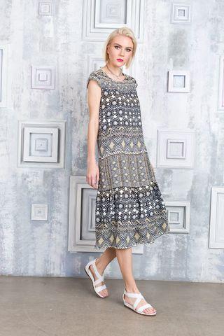Фото летнее свободное платье с геометрическим принтом из вискозы - Платье З357-700 (1)
