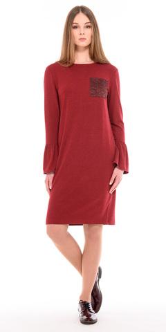 Фото красное платье с карманом из гипюра и воланами на рукавах - Платье З217-491 (1)