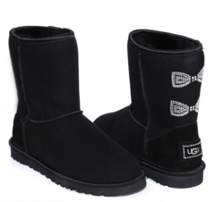 UGG Classic Short Crystal Bow Black