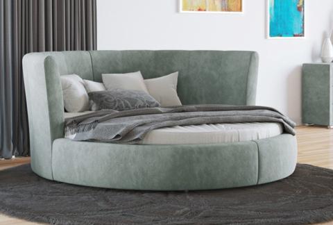 Круглая кровать Luna  Ткань Даблиск серый