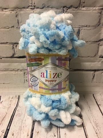 Пряжа ALIZE PUFFY COLOR №5924 светло голубой -белый