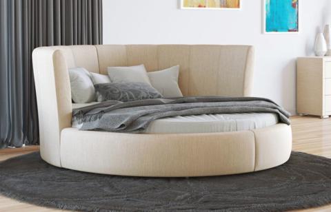 Круглая кровать Luna   бежевая рогожка