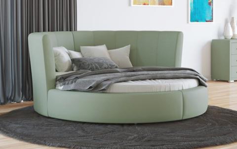 Круглая кровать Luna Экокожа Олива