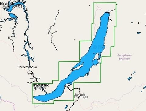 Карта: о. Байкал, Иркутское водохранилище. Navionics+ Small 5G765S.