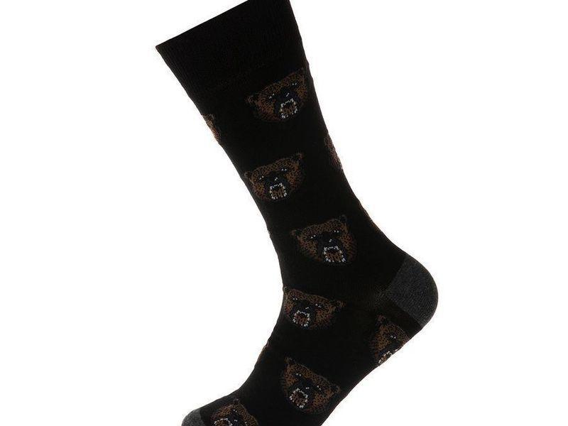 Носки мужские черные JOHN FRANK с принтом злых медведей