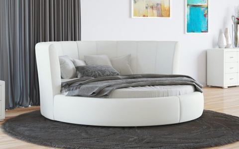 Круглая кровать Luna Экокожа Белая