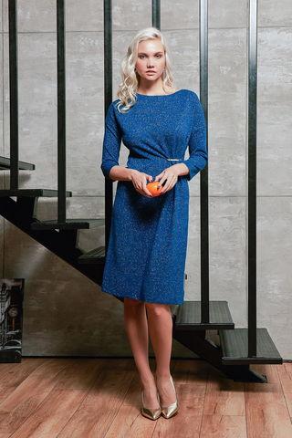 Фото насыщенно-синее платье свободного фасона с серебристым переливанием - Платье З427-415 (1)