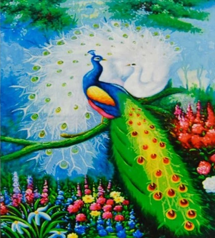 Алмазная Мозаика 30x40 Пара разноцветных павлинов на ветке (арт. GB70535)