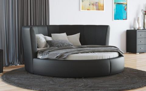 Круглая кровать Luna Экокожа Черная