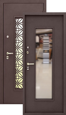 Дверь входная Изумруд Термо стальная, шёлк бордо, 2 замка, фабрика Алмаз