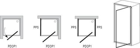 Душевая дверь Ravak Pivot PDOP1-80 белый/хром + транспарент 03G40100Z1 схема