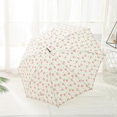 Женский зонт-трость, ручка-крюк, 8 спиц Yoco (Япония) белый принт- вишенки