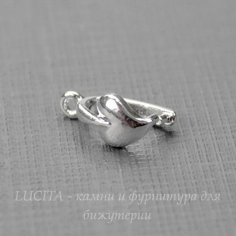 """Держатель кулона """"Сердце"""" 11х6 мм (цвет - серебро)"""