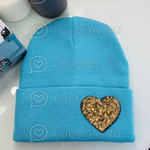 Шапка для девочки Бирюзовая с сердцем из пайеток