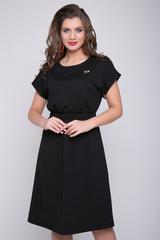 <p>Стильное платье из мягкого трикотажа - идеально подойдет в офис или на каждый день! Платье отрезное по линии талии с широкой резинкой. Рукав - кимоно, юбка - клёш. На груди очень красивая брошь.&nbsp;(Длины: 44-50= 103 см)&nbsp;</p>