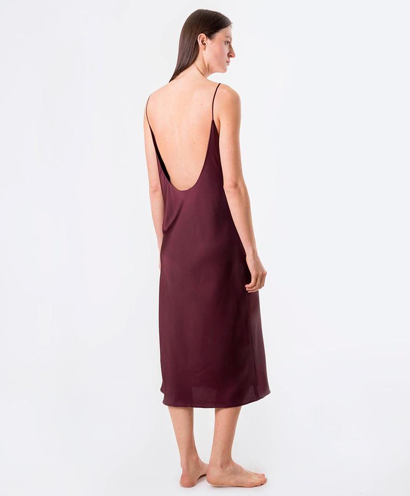 Платье-комбинация винного цвета