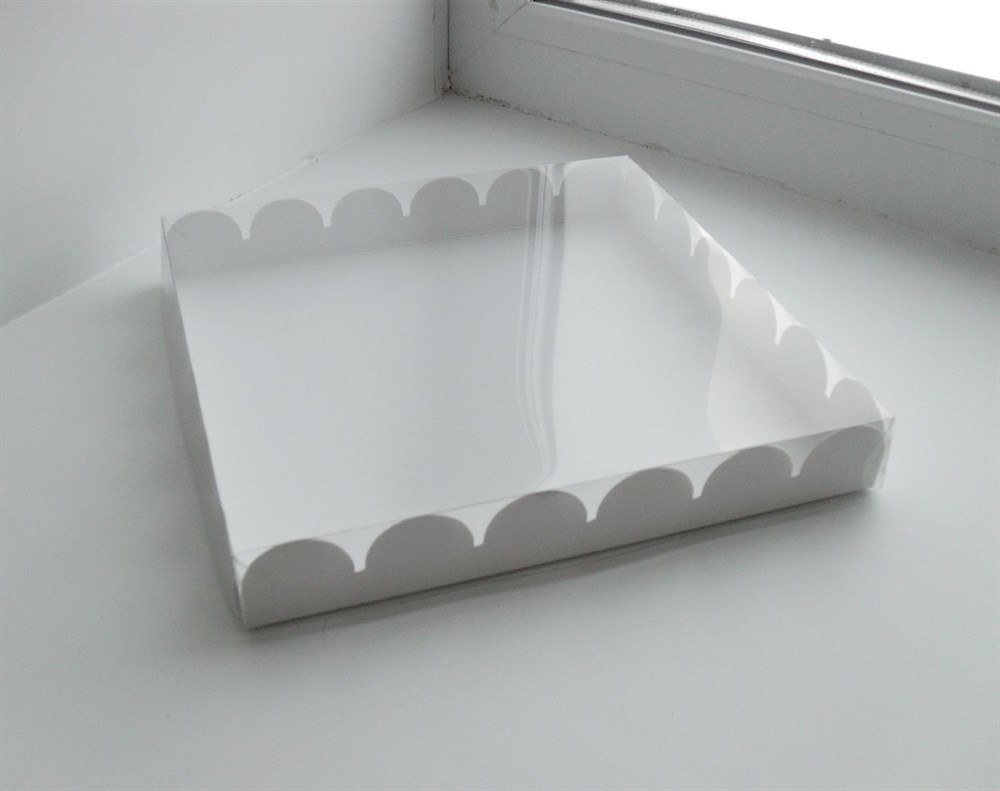 Коробка с прозрачной крышкой для печенья и пряников,25*25*3 см