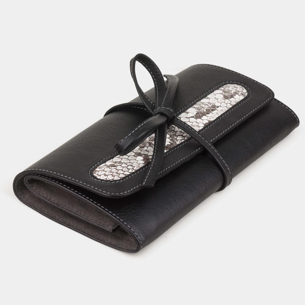 Чехол для ювелирных украшений Plier Bisness из натуральной кожи теленка, черного цвета