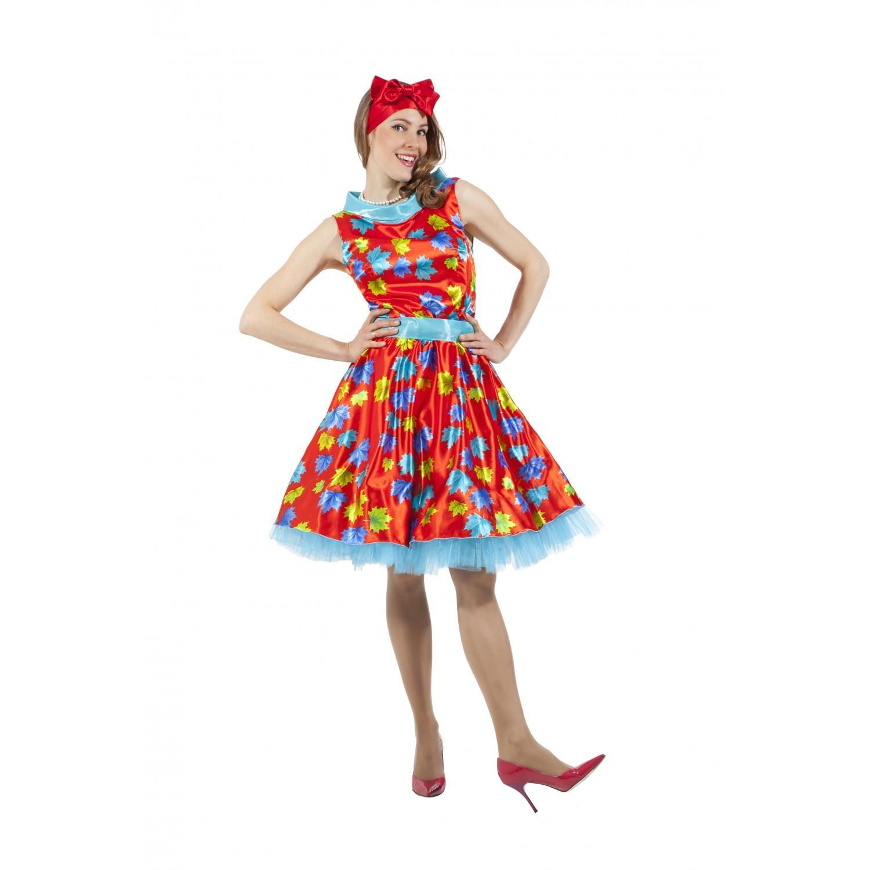 Платье в стиле 50-х с листочками красное
