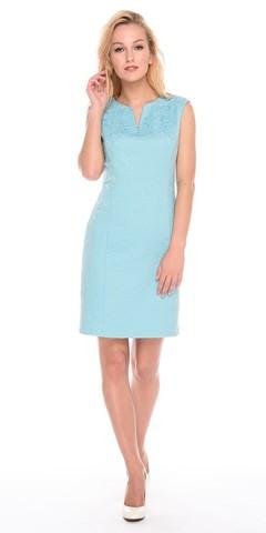 Фото голубое жаккардовое прямое платье-футляр приталенного силуэта на молнии - Платье З170а-767 (1)