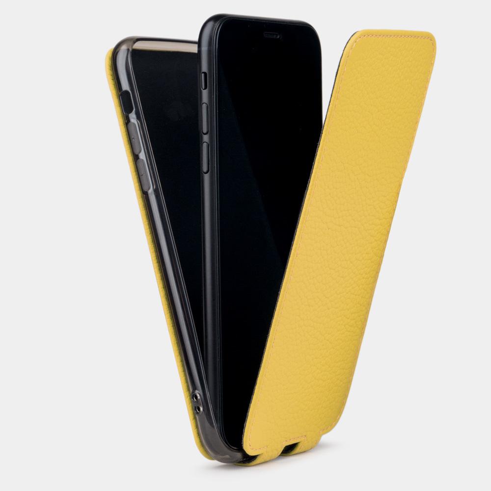 Чехол для iPhone XS Max из натуральной кожи теленка, желтого цвета
