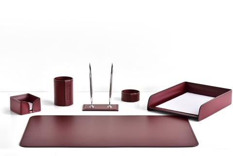 Набор настольный 6 предметов из кожи, цвет бордо