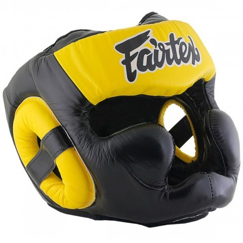 Шлем Fairtex Headguard Full Cover HG13F Black/Yellow