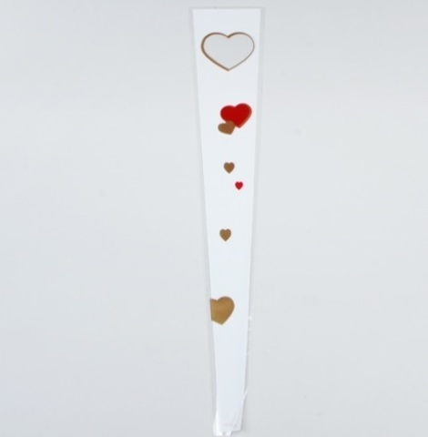Пакет цветочный Конус на 1 розу Сердца цветной рисунок 15/80  (упак. 50 шт.)