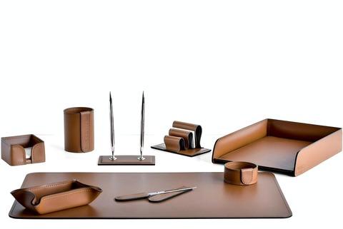 Офисный настольный набор из кожи цвет табак 9 предметов