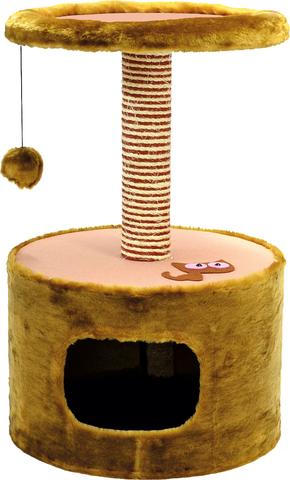 Зооник дом для кошек, одн.мех+меб.ткань, круглый коричневый (420х660)