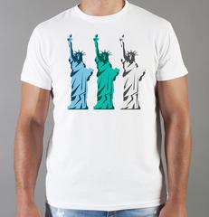 Футболка с принтом США, Статуя Свободы (USA/ Statue of Liberty ) белая 0012