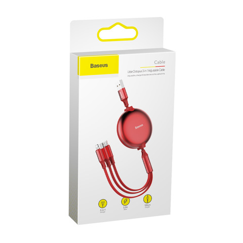 Кабель Baseus Little Octopus 3 in 1 adjustable cable USB For M+L+T 3.5A 1.2m Red