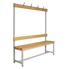 Вешалки для раздевалок со скамьей и крючками (односторонние) 1.0 метр