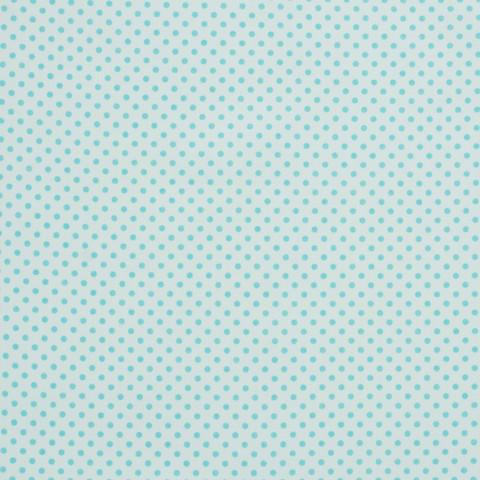 Ткань хлопковая бирюзовые горошки на белом