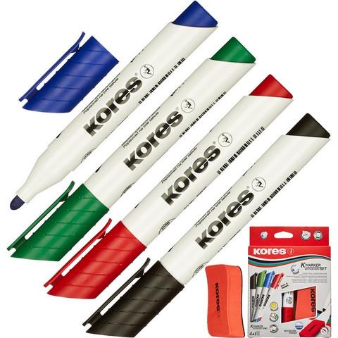 Набор маркеров для досок KORES с губкой 3мм 4шт/уп ?20863