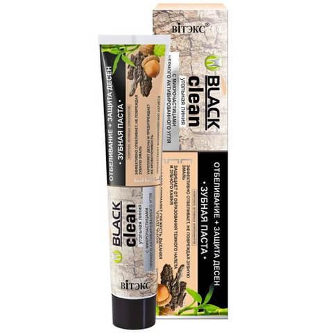 Зубная паста Отбеливание + защита дёсен с микрочастицами черного активированного угля и корой дуба