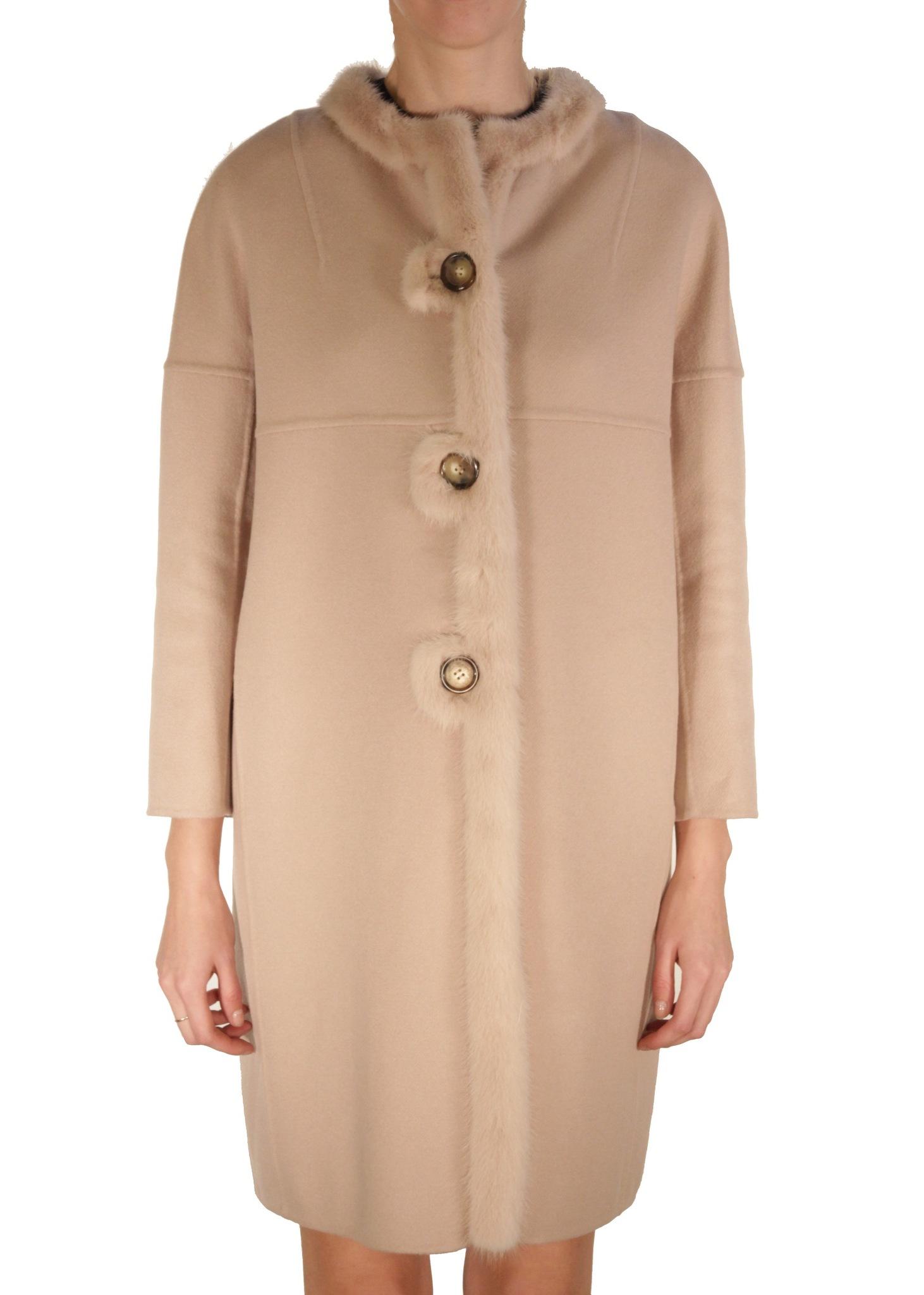 Пальто из шерсти с мехом норки. ERMANNO SCERVINO