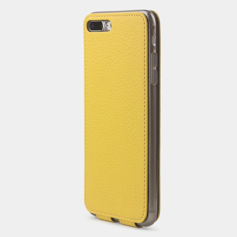 Чехол для iPhone 8 Plus из натуральной кожи теленка, желтого цвета