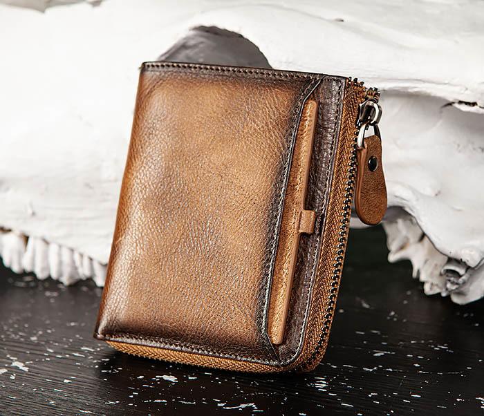 WL331-2 Мужское портмоне из натуральной коричневой кожи фото 02