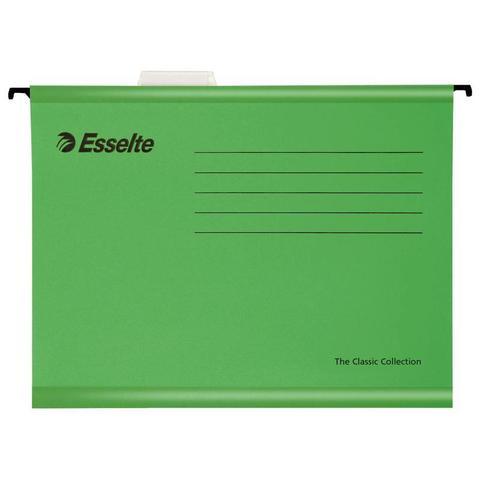 Подвесная папка Esselte Plus Foolscap А4+ до 250 листов зеленая (25 штук в упаковке)