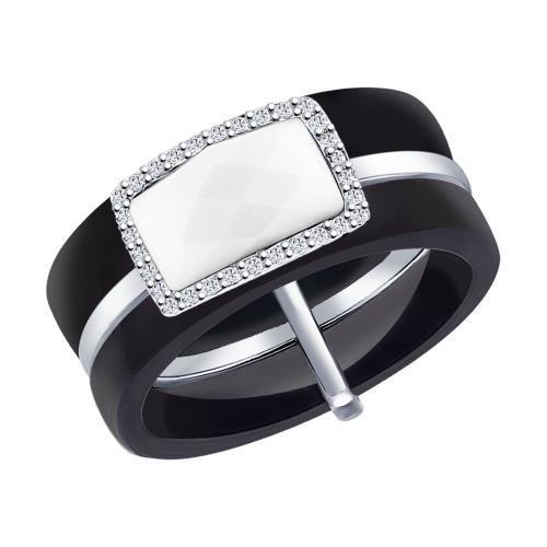 Черное керамическое кольцо с вставкой из белой керамики и фианитов