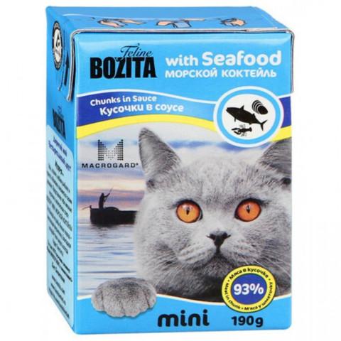 BOZITA MINI Tetra Pak консервы для кошек кусочки в соусе морской коктейль 190 г
