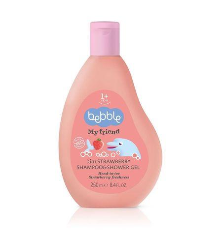 Шампунь и гель для душа 2в1 с ароматом клубники Bebble (1 год+)