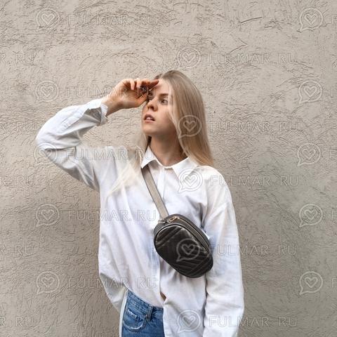 Сумка на пояс женская Серый графит Классика