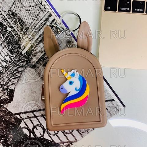 Силиконовая детская ключница-монетница-брелок с ушами зайца Единорог (цвет: Коричневый)