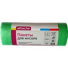 Мешки для мусора на 60 л Attache зеленые (ПНД, 10 мкм, в рулоне 30 шт, 58х66 см)