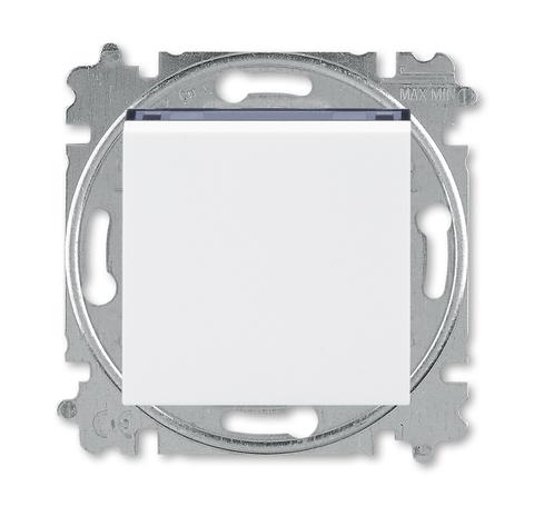 Выключатель одноклавишный. Цвет Белый / дымчатый чёрный. ABB. Levit(Левит). 2CHH590145A6062